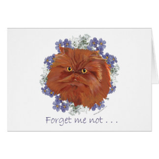Red Persian Cat Forget Me Not Card