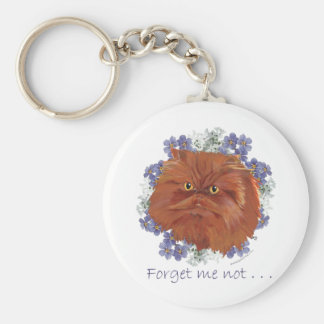 Red Persian Cat Forget Me Not Keychain