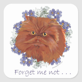 Red Persian Cat Forget Me Not Square Sticker