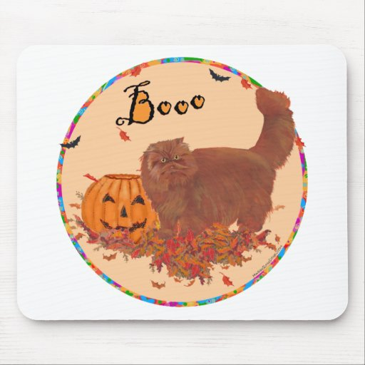 Red Persian Cat Halloween Mouse Pad