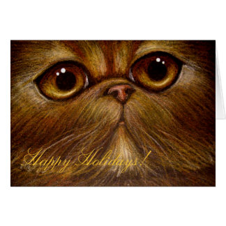 RED PERSIAN CAT HOLIDAY Card
