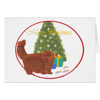Red Persian Cat Merry Christmas Card
