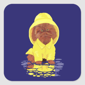 Red Persian Longhair Cat April Showers Square Sticker