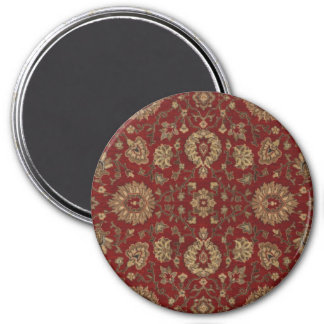 Red Persian scarlet arabesque tapestry 3 Inch Round Magnet
