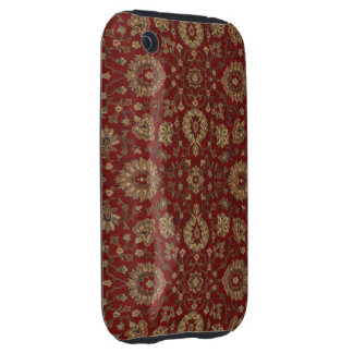 Red Persian scarlet arabesque tapestry iPhone 3 Tough Cover