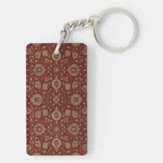Red Persian scarlet arabesque tapestry Double-Sided Rectangular Acrylic Keychain