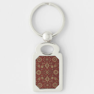 Red Persian scarlet arabesque tapestry Silver-Colored Rectangular Metal Keychain