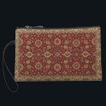 """Red Persian scarlet arabesque tapestry Wristlet Wallet<br><div class=""""desc"""">scarlet arabesque persian carpet design  Golden flowers with scarlet background  Dark rich red background with floral pattern laid out in geometrical repeating pattern  floral patterns,  geometrical designs,  medallion</div>"""