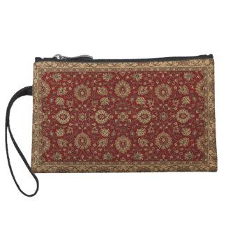 Red Persian scarlet arabesque tapestry Wristlet Wallet