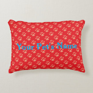 Red Personalised Pet Pillow with Paw Prints Accent Pillow