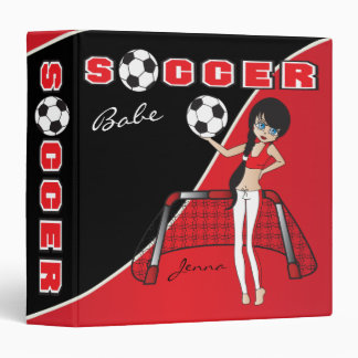 Red Personalize Soccer Babe Binder