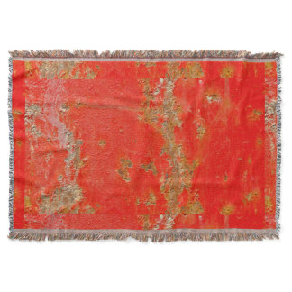 Red personalized antique car, rusted metal throw