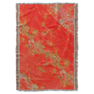 Red personalized antique car, rusted metal throw blanket