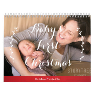 Red Personalized Calendars Babies First Christmas