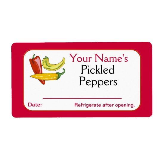 red personalized canning labels pickled peppers zazzle com