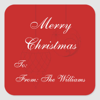 Red Personalized Christmas Gift Tag Stickers Stickers