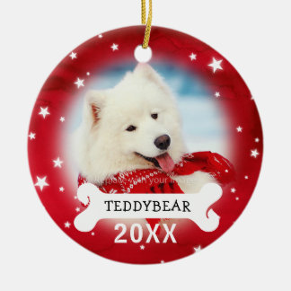 Red Personalized Dog Pet Photo Christmas Ornaments