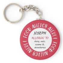 Red Personalized Food Allergy Alert Customized Keychain