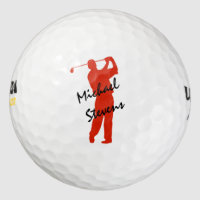 Red Personalized Golfer Golf Balls