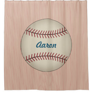 Red Personalized Kids Baseball Shower Curtain