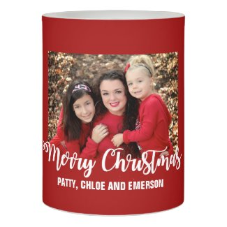 Red Personalized Merry Christmas Photo LED Candle