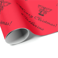 Red personalized Merry Christmas wrapping paper
