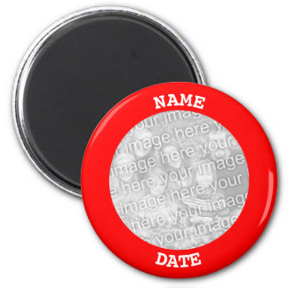 Red Personalized Round Photo Border Magnet