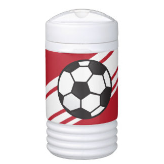 Red Personalized Soccer Igloo Beverage Cooler