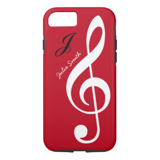 red personalized treble gclef music iPhone 8/7 case