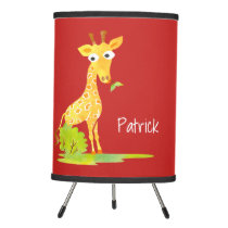 Red Personalized Watercolor Giraffe Kids Tripod Lamp