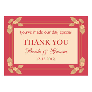 Red Personalized Wedding Favor Gift Tags Business Card Templates