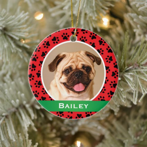 Red Pet Paw Prints Personalized Dog Name Photo Ceramic Ornament