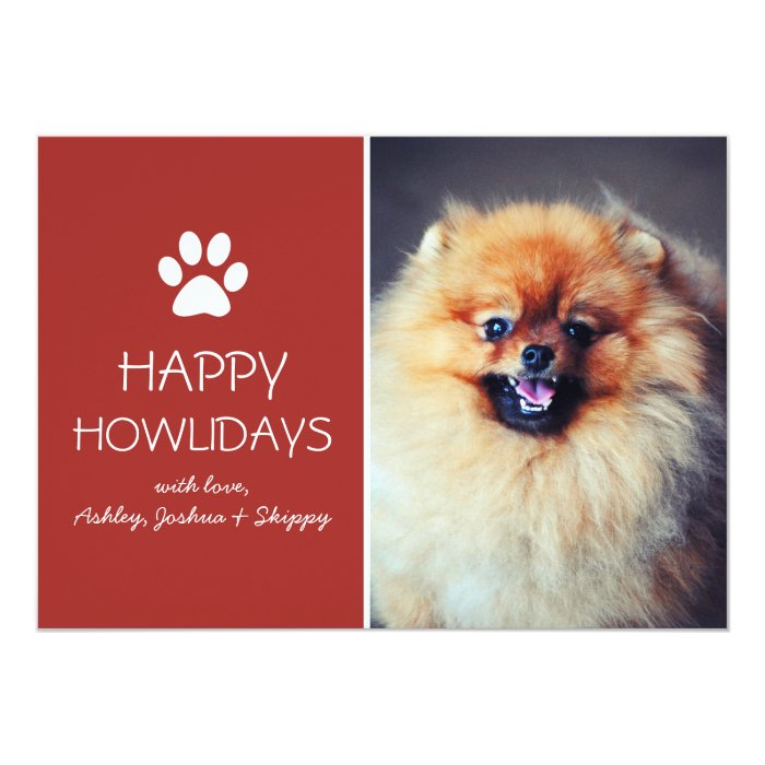 Red Pet Photo Paw Print Holiday Flat Cards