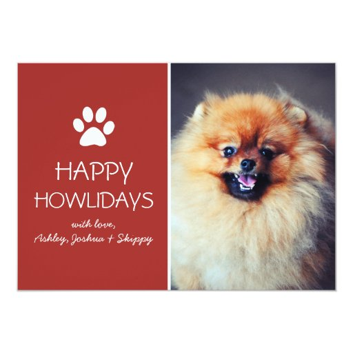 Red Pet Photo Paw Print Holiday Flat Cards Custom Announcement