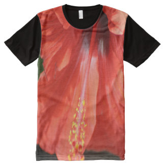 Red Petal and Anther with Pistil Hibiscus Flower All-Over Print T-shirt