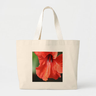 Red Petal and Anther with Pistil of Hibiscus Flowe Large Tote Bag