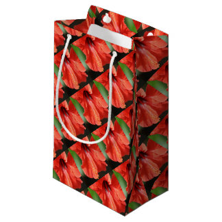 Red Petal and Anther with Pistil of Hibiscus Flowe Small Gift Bag
