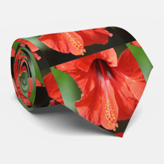 Red Petal and Anther with Pistil of Hibiscus Neck Tie