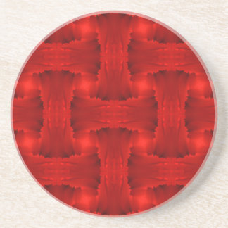 Red Petal Ribbon Weave Sandstone Coaster