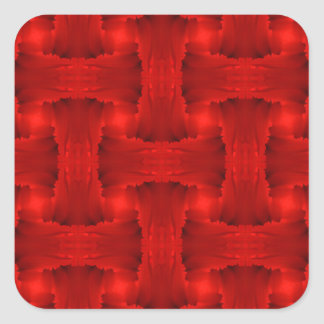 Red Petal Ribbon Weave Square Sticker