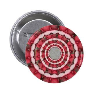 Red Petals Kaleidoscope 1 Button