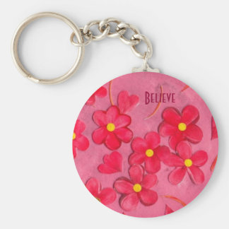 Red petals painted key chain