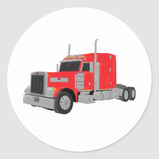 red peter built tractor classic round sticker