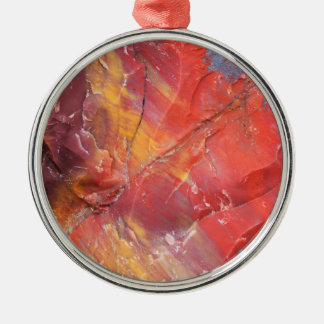 Red Petrified wood detail, Arizona Metal Ornament
