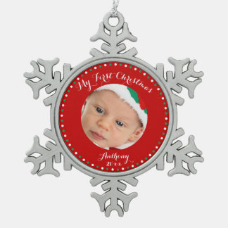 Red Pewter Custom First Christmas Ornament