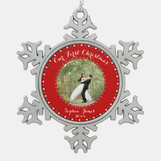 Red Pewter First Christmas Together Ornament
