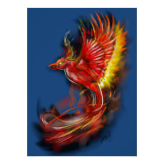 red phoenix, rising from the ashes, firebird poste poster