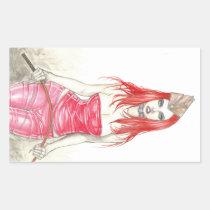 artsprojekt, pinup, goth, fantasy, illustration, drawing, volumptous, gorgeous, artofjamesadams, cleavage, hot, fine, seductive, flirty, beautiful, temptress, redhead, military, whip, intense, green, eyes, fierce, look, pinupgirl, Sticker with custom graphic design