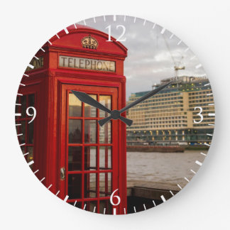 Red Phone Booth - London UK Large Clock