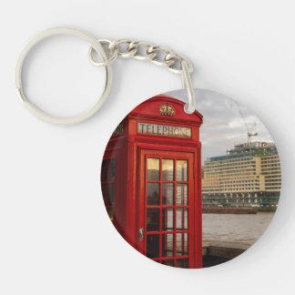 Red Phone Booth - London UK Single-Sided Round Acrylic Keychain